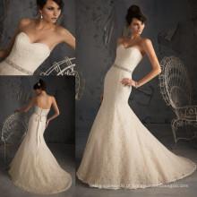 WD2860 laço vintage mais recente vestido de casamento de design pérola sash volta tribunal trem zíper sereia vestido de noiva com contas