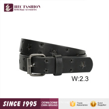 HEC Fashion Designer Punched PU Material Leather Belt For Girls