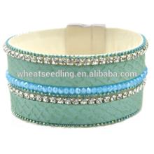 Jóias por atacado de cristal estilo francês pulseira de couro de cristal pulseira magnética