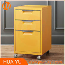 3-Drawer Soho Bedroom Office Steel Filing Cabinet (18-Inch, Yellow)