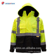 Winter Construction Hallo Vis Workwear Weste Ansi Klasse 3 High Visibility Gelb Sicherheit Reflektierende Jacke