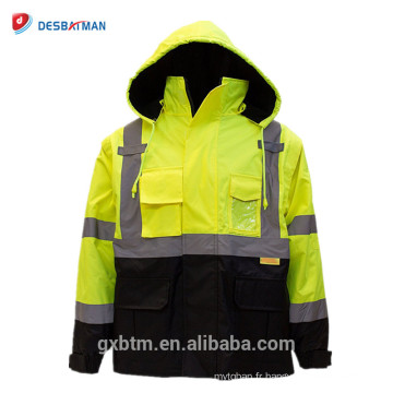 Gilet de travail de haute visibilité de construction d'hiver Veste réfléchissante de sécurité de haute visibilité de jaune de catégorie 3 d'Ansi