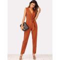 Khaki Zip Back Shawl Collar Knot Jumpsuits OEM/ODM Manufacture Wholesale Fashion Women Apparel (TA7018J)