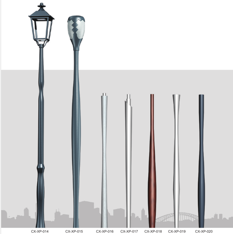 Anti-corrosive Aluminum alloy spinning lamp pole