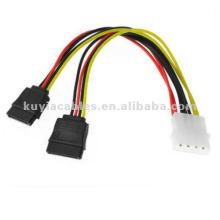 SATA Power Splitter y cable 4PIN MALE a 2X SATA doble adaptador de corriente hembra