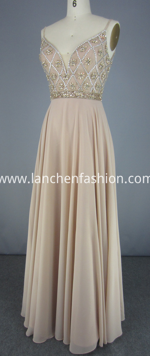 Deep V Chiffon Dress