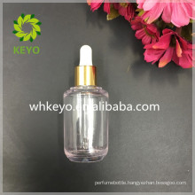 50ml Thick wall PETG dropper bottle transparent bottle shiny gold dropper