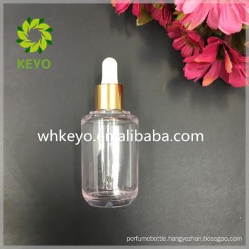 50ml Thick wall PETG dropper bottle transparent bottle shiny gold dropper