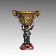 Estatua de jarrón de Ovejas-Niños de bronce Jardiniere Escultura, Milo TPE-590