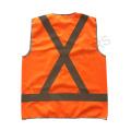 Gilet de sécurité réfléchissant à fermeture velcro en orange avec ruban réfléchissant sur le dos