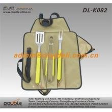 4 Pcs Colored Wooden Handle BBQ Set With Apron Packing For Gift