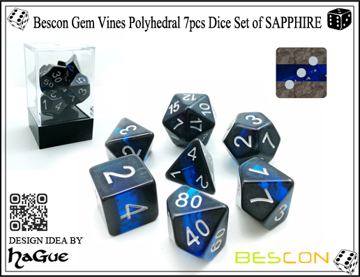 Bescon Gem Vines Polyhedral 7pcs Dice Set of SAPPHIRE-1