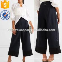 Satin-getrimmt Crepe Wide-Bein Hosen Herstellung Großhandel Mode Frauen Bekleidung (TA3045P)