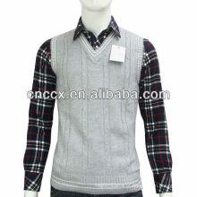 Veste sem mangas do sweater do argyle do algodão 13STC5088 para homens