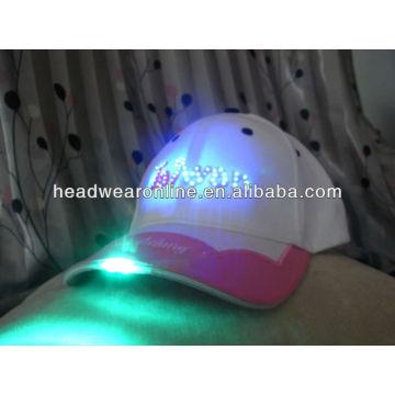 Moda flash luz tampas com bordado logo design