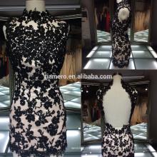 2016 novas chegadas preto applique Mini vestido de noiva de alta qualidade quente sexy vestido de noiva de renda de moda