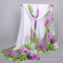 Moda whosale senhora leve impressão floral poliéster chiffon cachecol