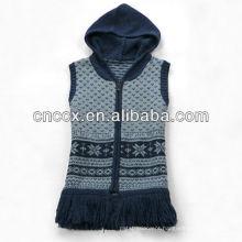 Colete de camisola com zíper de 12STC0641 tasseled mulheres