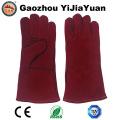Red Cowhide Split Leather Safety Industrial Welders Gloves with Ce En 407