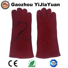 Guantes de soldadura industrial de piel de vaca de cuero rojo con Ce En 407