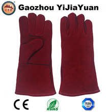 Red Cowhide Split Leather Safety Industrial Welders Gloves with Ce En 407