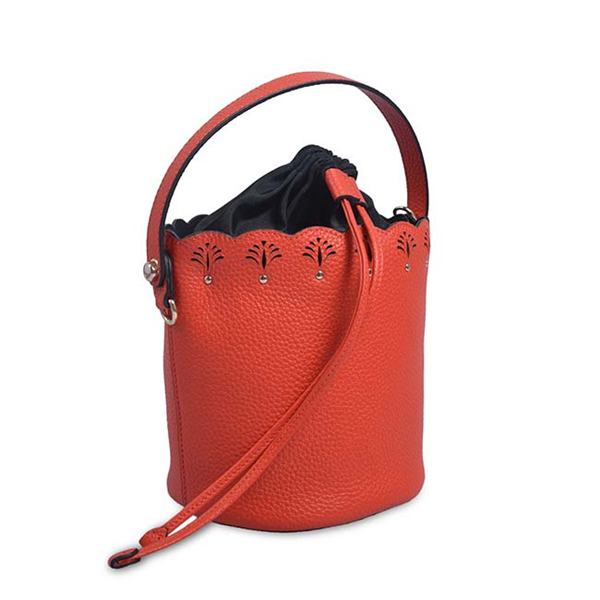 Vintage Women Small Crossbody Bags Leather Tassel Drawstring Bucket Bag