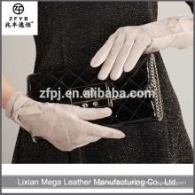 Novo design de moda de baixo preço Luvas de couro das mulheres 2016