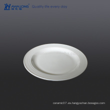 Plain White Flat Haga Su Propia Cena Platos, Fine Ceramic Miniature Plates For Hotel