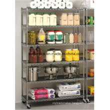 High-Capacity Commercial Restaurant Hotel Chrome Metal Display Rack