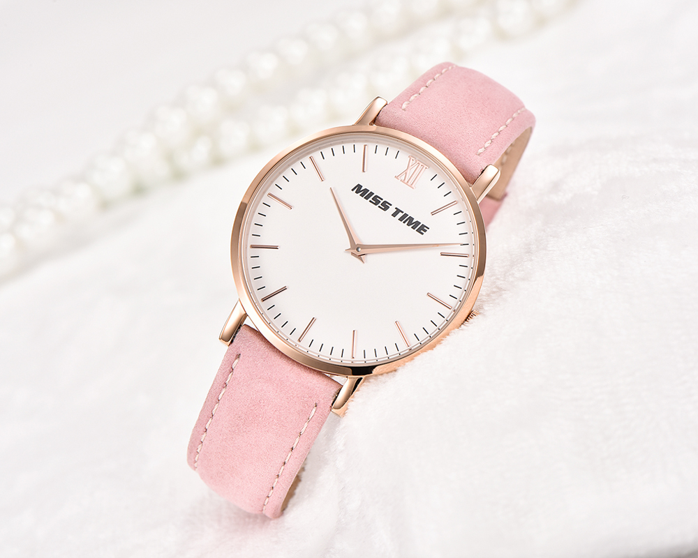 pink leather strap japan movements lady hand quartz watch