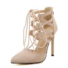 Sandalias de mujer de tacón alto con encaje