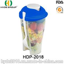 Taza plástica reutilizable de la coctelera del envase de ensalada con la bifurcación (HDP-2018)