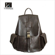 2016 wholesale popular black mens genuine leather backpack for men