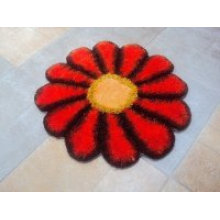 Sunflower Design Silk Shaggy Carpet Rug