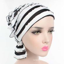 Fashion solid color turban muslim pile cap plain chiffon ruffle women turban hat