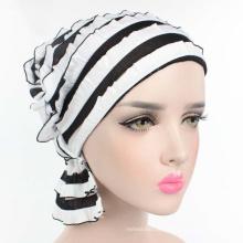 Moda cor sólida turbante muçulmano pilha cap plain chiffon plissado mulheres turbante chapéu