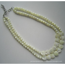 2 filas de moda traje Shell collar de perlas para las mujeres