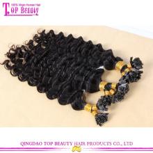 Barato por atacado alta qualidade in natura brasileira onda profunda cabelo virgem u dica cabelo extensão