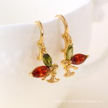 Мода бабочка 18k Золото CZ Мода серьги ювелирные изделия