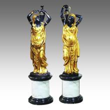 Candleholder Statue Female Candlestick Bronze Sculpture TPE-027 (R)