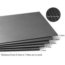 Plaques de carbone de découpe CNC 1.0 * 400 * 500mm brillant / twill verre 3k fiber de carbone panneau / feuille / plaque