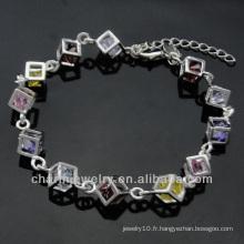 Bracelets en zircon en argent sterling à la mode 925 en or 925 pour Lady BSS-002