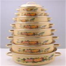 La casserole d'émail a placé la casserole d'émail / a adapté aux besoins du client l'émail / ustensiles de cuisine d'émail