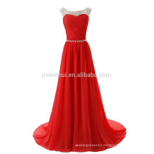 Hot Sale Evening Dresses Long 2016 Fast Shipping Scoop A-line Chiffon Sweep Train Vestido De Festa Longo Prom Dress