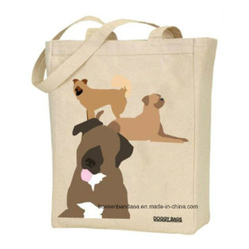 Custom Made Logo Printed Promotional Doggy Pet Natural Duty Cotton Canvas Beach Tote Hand Bag