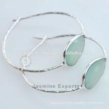 925 Brincos de aro de prata esterlina Aqua Pendentes de pedras preciosas de calcedônia para mulheres