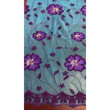 Tecido para bordar em malha de flores azuis