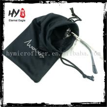 Chine fournisseur bijoux pochette velours avec logo, doux étui à lunettes, sac en tissu avec sangle