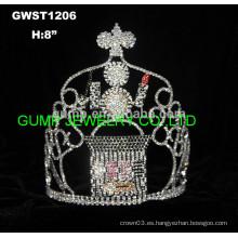 Corona de la tiara de los cosméticos del día de fiesta