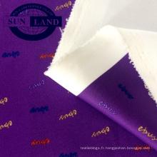Tissu en tricot blanc avec sublimation, imprimé de vêtements de sport, tissu interlock en polyester et lycra